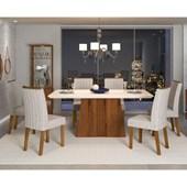 Conjunto de Mesa Itália para Sala de Jantar com Tampo de Vidro 06 Cadeiras Belga Off White / Rústico Terrara / Linho Claro – DJ móveis