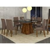 Conjunto de Mesa Itália para Sala de Jantar com Tampo de Vidro 06 Cadeiras Belga Rústico Malbec / Preto / Linho Bronze – DJ Móveis