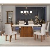 Conjunto de Mesa Itália para Sala de Jantar com Tampo de Vidro 06 Cadeiras Celina Off White / Rústico Terrara / Linho Claro – DJ móveis
