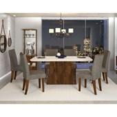 Conjunto de Mesa Itália para Sala de Jantar com Tampo de Vidro 06 Cadeiras Golden Off White / Rústico Malbec / Linho Bronze – DJ móveis