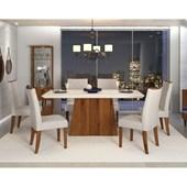 Conjunto de Mesa Itália para Sala de Jantar com Tampo de Vidro 06 Cadeiras Golden Off White / Rústico Terrara / Linho Claro – DJ móveis