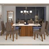 Conjunto de Mesa Itália para Sala de Jantar com Tampo de Vidro 06 Cadeiras Iara Off White / Rústico Terrara / Linho Bronze – DJ móveis
