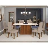 Conjunto de Mesa Itália para Sala de Jantar com Tampo de Vidro 06 Cadeiras Iara Off White / Rústico Terrara / Linho Claro – DJ móveis