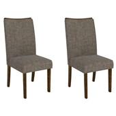 Conjunto de Mesa Itália para Sala de Jantar com Tampo de Vidro 06 Cadeiras Serena Rústico Malbec / Preto / Linho Bronze – DJ Móveis