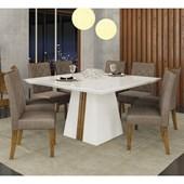Conjunto de Mesa Itália para Sala de Jantar com Tampo de Vidro 08 Cadeiras Golden Branco Laca / Demolição / Linho Bronze – DJ Móveis