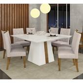 Conjunto de Mesa Itália para Sala de Jantar com Tampo de Vidro 08 Cadeiras Golden Branco Laca / Demolição / Linho Claro – DJ Móveis