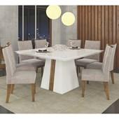 Conjunto de Mesa Itália para Sala de Jantar com Tampo de Vidro 08 Cadeiras Golden Branco Laca / Demolição / Suede Pena Bege – DJ Móveis