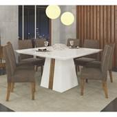 Conjunto de Mesa Itália para Sala de Jantar com Tampo de Vidro 08 Cadeiras Golden Branco Laca / Demolição / Suede Pena Marrom – DJ Móveis