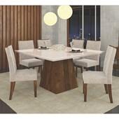 Conjunto de Mesa Itália para Sala de Jantar com Tampo de Vidro 08 Cadeiras Golden Rústico Malbec / Off White / Suede Pena Bege – DJ Móveis