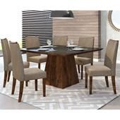 Conjunto de Mesa Itália para Sala de Jantar com Tampo de Vidro 08 Cadeiras Golden Rústico Malbec / Preto / Linho Bronze – DJ Móveis