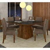Conjunto de Mesa Itália para Sala de Jantar com Tampo de Vidro 08 Cadeiras Golden Rústico Malbec / Preto / Suede Pena Marrom – DJ Móveis