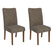 Conjunto de Mesa Itália para Sala de Jantar com Tampo de Vidro 08 Cadeiras Golden Rústico Terrara / Off White / Linho Bronze – DJ Móveis