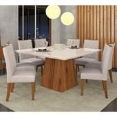 Conjunto de Mesa Itália para Sala de Jantar com Tampo de Vidro 08 Cadeiras Golden Rústico Terrara / Off White / Linho Claro – DJ Móveis