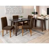 Conjunto de Mesa Jade Alamo para Sala de Jantar com Tampo de Vidro Preto e 04 Cadeiras Isabela Café C02 com Aparador Jade Álamo - New Ceval