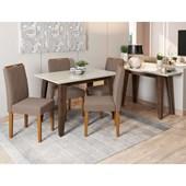Conjunto de Mesa Jade Castanho para Sala de Jantar com Tampo de Vidro Off e 04 Cadeiras Isabela Capuccinho VL 02 com Aparador Jade Castanho - New Ceval