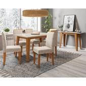 Conjunto de Mesa Jade Ypê para Sala de Jantar com Tampo de Vidro Off e 06 Cadeiras Ana Bege Claro WD 22 com Aparador Jade Ypê - New Ceval