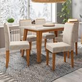 Conjunto de Mesa Jade Ypê para Sala de Jantar com Tampo de Vidro Off e 06 Cadeiras Ana Bege Claro WD 22 - New Ceval