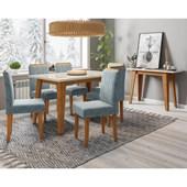 Conjunto de Mesa Jade Ypê para Sala de Jantar com Tampo de Vidro Off e 6 Cadeiras Ana Grafite WD 26 com Aparador Jade Ypê - New Ceval