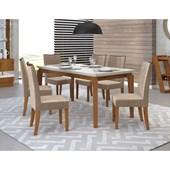 Conjunto de Mesa Rouge para Sala de Jantar com Tampo de Vidro 06 Cadeiras Serena Rústico Terrara / Off White / Linho Kraft – DJ Móveis
