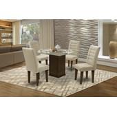 Conjunto de mesa Vegas para Sala de Jantar com Tampo de vidro 4 Cadeiras Castanho/Areia-Dobuê