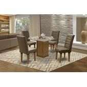 Conjunto de mesa Vegas para Sala de Jantar com Tampo de vidro 4 Cadeiras Mell/Cacau-Dobuê