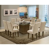 Conjunto de mesa Vegas para Sala de Jantar com Tampo de vidro 8 Cadeiras Castanho/ Areia-Dobuê