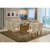 Conjunto de mesa Vegas para Sala de Jantar com Tampo de vidro 8 Cadeiras Mell / Areia-Dobuê