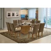 Conjunto de mesa Vegas para Sala de Jantar com Tampo de vidro 8 Cadeiras Mell / Cacau-Dobuê