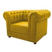 Conjunto de Poltrona Cadeira Decorativa Chesterfield e Sofá 2 lugares Suede Amarelo Sala de Estar Recepção Luxo Capitonê - AM Decor