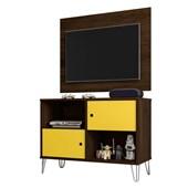 Conjunto Rack Bancada mais Painel Suspenso Talyta 50580 Cedro e Amarelo para TV de até 42 Polegadas Sala de Estar Recepção - AM Decor