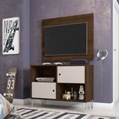 Conjunto Rack Bancada mais Painel Suspenso Talyta 50580 Cedro e Nude para TV de até 42 Polegadas Sala de Estar Recepção - AM Decor