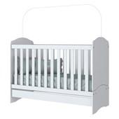 Dormitório Infantil Quarto de Bebê Cômoda Aquarela 04 Gavetas e Berço mini Cama 3 em 1 Branco - Henn