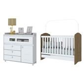Dormitório Infantil Quarto de Bebê Cômoda Aquarela 04 Gavetas e Berço mini Cama 3 em 1 Rústico e Branco - Henn