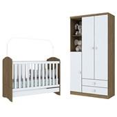 Dormitório Infantil Quarto de Bebê Roupeiro Guarda Roupa Bala de Menta e Berço mini Cama 3 em 1 Rústico e Branco - Henn
