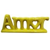 Enfeite Decorativo Letreiro Palavra Amor Cerâmica Amarelo - Amarena Moveis