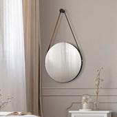 Espelho Redondo Decorativo Adnet Sunset Preto com Alça De Couro - Amarena Móveis