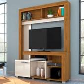 Estante Flávia com Portas Deslizantes para TV de até 42 Polegadas Sala de Estar Naturale Fosco e Off White Brilho - Madetec