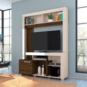 Estante Flávia com Portas Deslizantes para TV de até 42 Polegadas Sala de Estar Off White Brilho e Savana Fosco - Madetec