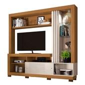 Estante Frizz para TV de até 50 Polegadas com Espelho e Luminária LED Naturale Fosco e Off White Brilho Sala de Estar - Madetec