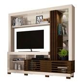Estante Frizz para TV de até 50 Polegadas com Espelho e Luminária LED Off White Brilho e Savana Fosco Sala de Estar - Madetec