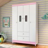 Guarda Roupa Roupeiro Flex Infantil Encanto 4 Portas e 3 Gavetas Branco e Rosê ou Branco - Pertenella Baby