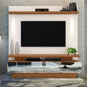 Home Theater Estante Citta para TV de até 70 Polegadas com Espelhos para Sala de Estar Off White e Carvalho Americano - DJ Móveis