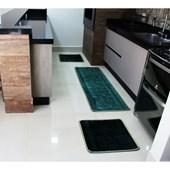 Jogo de Tapete para Cozinha 3 Peças Emborrachado Alto Relvo Melhor Preço Verde - AM Decor
