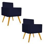 Kit 02 Poltrona Cadeira Decorativa Beatriz Escritório Recepção Sala Corano Azul Marinho - AM Decor
