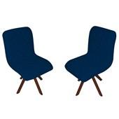 Kit 02 Poltrona Cadeira Decorativa Giratória Mel Corano Azul Marinho para Quarto Sala de Estar Recepção Escritório Consultório Luxo - AM Decor
