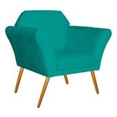 Kit 02 Poltrona Cadeira Decorativa Marcela Corano Azul Turquesa para Sala de Estar Recepção Escritório Quarto Luxo Conforto - AM Decor