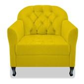 Kit 02 Poltrona Cadeira Sofá Julia com Botonê Pés Luiz XV para Sala de Estar Recepção Quarto Escritório Corano Amarelo - AM Decor