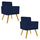 Kit 02 Poltrona Decorativa Pés Palito Beatriz Recepção Sala Quarto Recepção Suede Azul Marinho - AM Decor