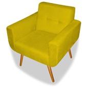 Kit 02 Poltronas Cadeiras Decorativas Charmy para Sala de Estar Escritório Corano Amarelo - AM Decor