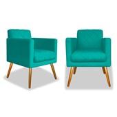 Kit 02 Poltronas Cadeiras Decorativas Erica Corano Azul Turquesa - AM Decor